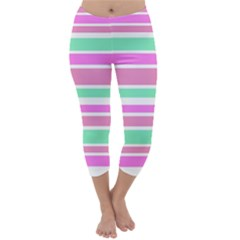 Pink Green Stripes Capri Winter Leggings