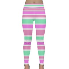 Pink Green Stripes Yoga Leggings