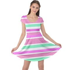 Pink Green Stripes Cap Sleeve Dresses