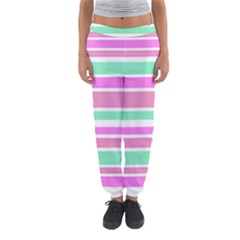 Pink Green Stripes Women s Jogger Sweatpants