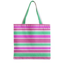 Pink Green Stripes Zipper Grocery Tote Bag