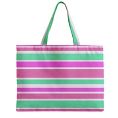 Pink Green Stripes Zipper Mini Tote Bag
