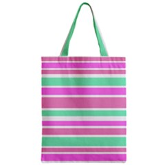 Pink Green Stripes Zipper Classic Tote Bag