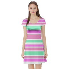 Pink Green Stripes Short Sleeve Skater Dress
