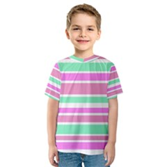 Pink Green Stripes Kid s Sport Mesh Tee