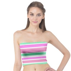 Pink Green Stripes Tube Top