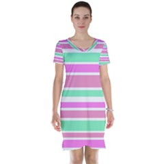 Pink Green Stripes Short Sleeve Nightdress