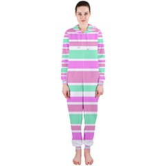 Pink Green Stripes Hooded Jumpsuit (Ladies)