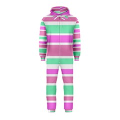 Pink Green Stripes Hooded Jumpsuit (Kids)