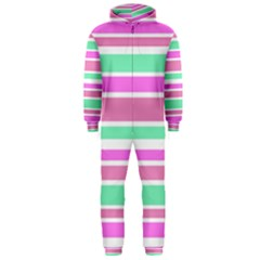 Pink Green Stripes Hooded Jumpsuit (Men)