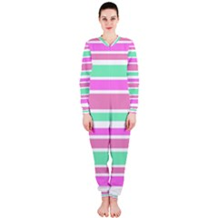 Pink Green Stripes OnePiece Jumpsuit (Ladies)