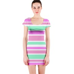Pink Green Stripes Short Sleeve Bodycon Dress
