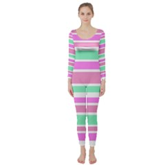 Pink Green Stripes Long Sleeve Catsuit