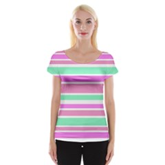 Pink Green Stripes Women s Cap Sleeve Top