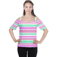 Pink Green Stripes Women s Cutout Shoulder Tee
