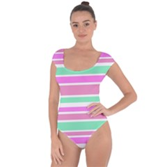 Pink Green Stripes Short Sleeve Leotard (ladies) by BrightVibesDesign