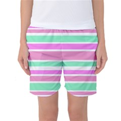 Pink Green Stripes Women s Basketball Shorts