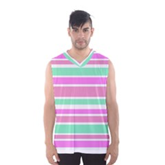 Pink Green Stripes Men s Basketball Tank Top