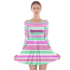 Pink Green Stripes Long Sleeve Skater Dress