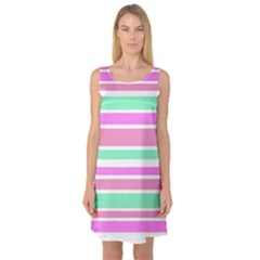 Pink Green Stripes Sleeveless Satin Nightdress