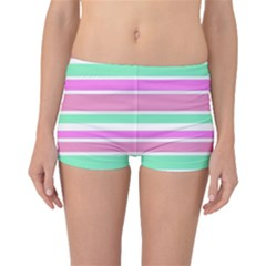 Pink Green Stripes Boyleg Bikini Bottoms
