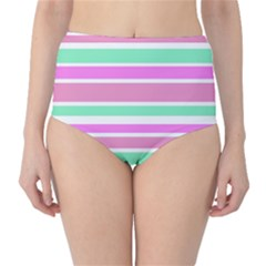 Pink Green Stripes High-Waist Bikini Bottoms