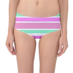 Pink Green Stripes Mid-Waist Bikini Bottoms