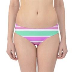 Pink Green Stripes Hipster Bikini Bottoms