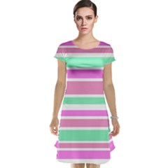 Pink Green Stripes Cap Sleeve Nightdress