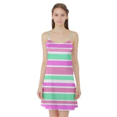 Pink Green Stripes Satin Night Slip
