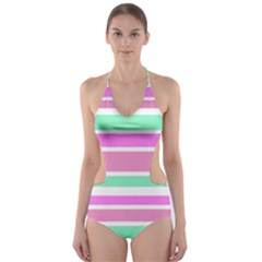 Pink Green Stripes Cut-Out One Piece Swimsuit