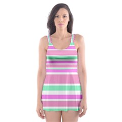 Pink Green Stripes Skater Dress Swimsuit