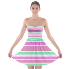 Pink Green Stripes Strapless Dresses