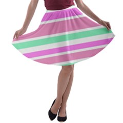 Pink Green Stripes A-line Skater Skirt