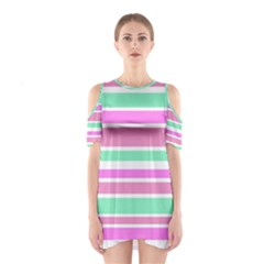 Pink Green Stripes Cutout Shoulder Dress