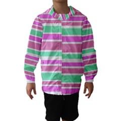 Pink Green Stripes Hooded Wind Breaker (Kids)