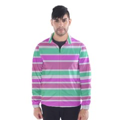 Pink Green Stripes Wind Breaker (Men)