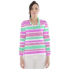 Pink Green Stripes Wind Breaker (Women)