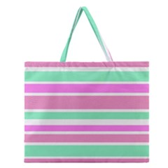 Pink Green Stripes Zipper Large Tote Bag