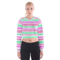 Pink Green Stripes Women s Cropped Sweatshirt