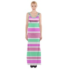 Pink Green Stripes Maxi Thigh Split Dress