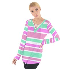 Pink Green Stripes Women s Tie Up Tee