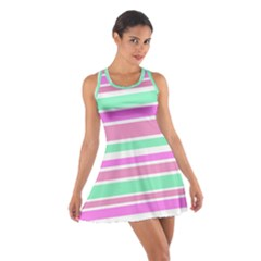 Pink Green Stripes Racerback Dresses
