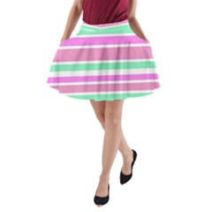 Pink Green Stripes A-Line Pocket Skirt