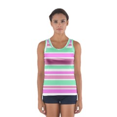 Pink Green Stripes Tops