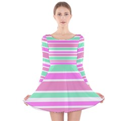 Pink Green Stripes Long Sleeve Velvet Skater Dress