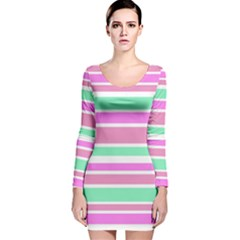 Pink Green Stripes Long Sleeve Velvet Bodycon Dress