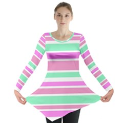 Pink Green Stripes Long Sleeve Tunic