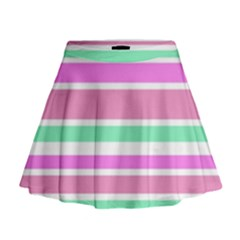 Pink Green Stripes Mini Flare Skirt