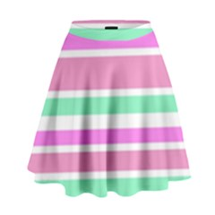 Pink Green Stripes High Waist Skirt